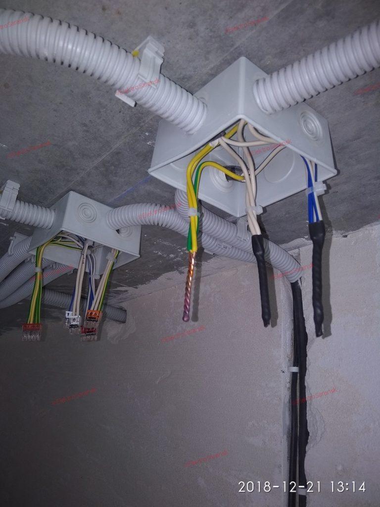Сварка проводов, расключение распаечных коробок